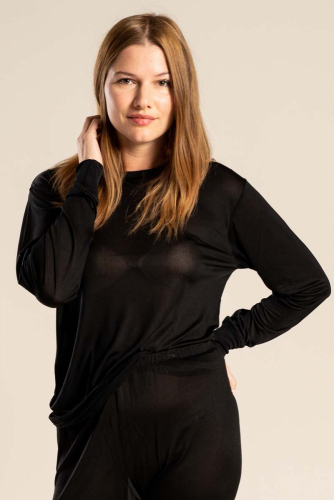 Silk sweater long sleeve, unisex in the group  / Underwear at Sleep in Silk (166-natur-Lr)